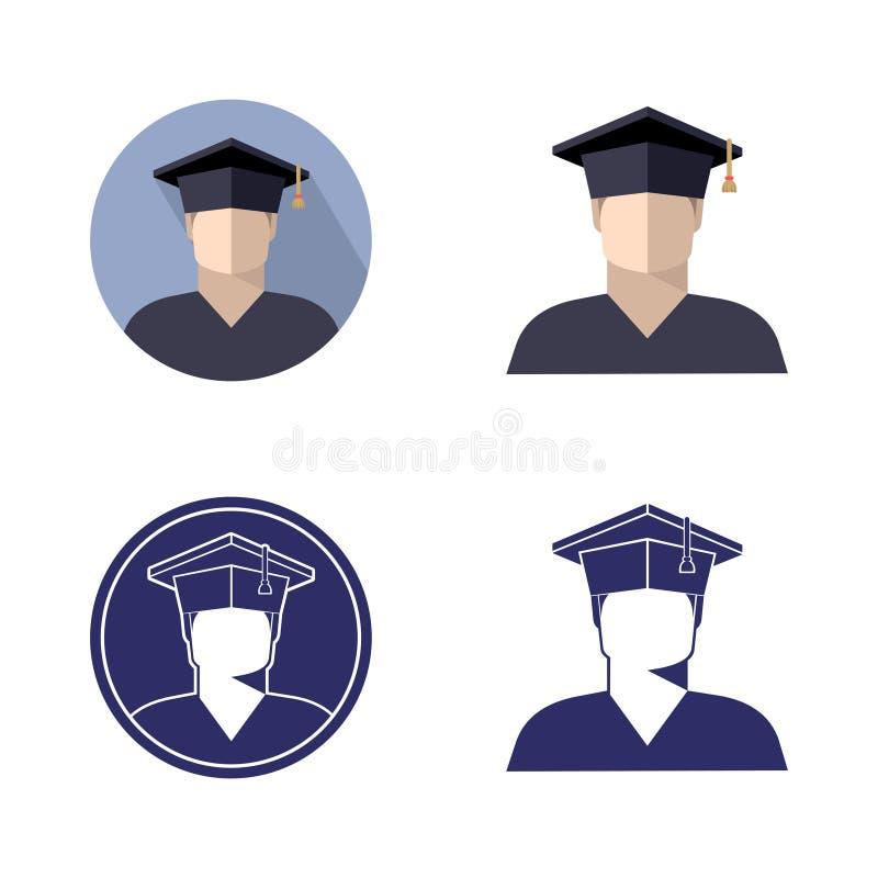 设置毕业生盖帽、黑白照片和颜色图象的学生男孩 库存例证