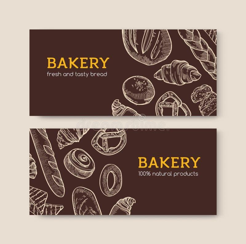设置水平的横幅模板用可口面包和鲜美被烘烤的产品手拉与在黑暗的等高线 皇族释放例证