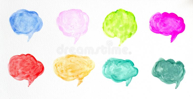 设置水彩五颜六色的讲话泡影或交谈云彩,手拉的讲话泡影水彩刷子例证 向量例证