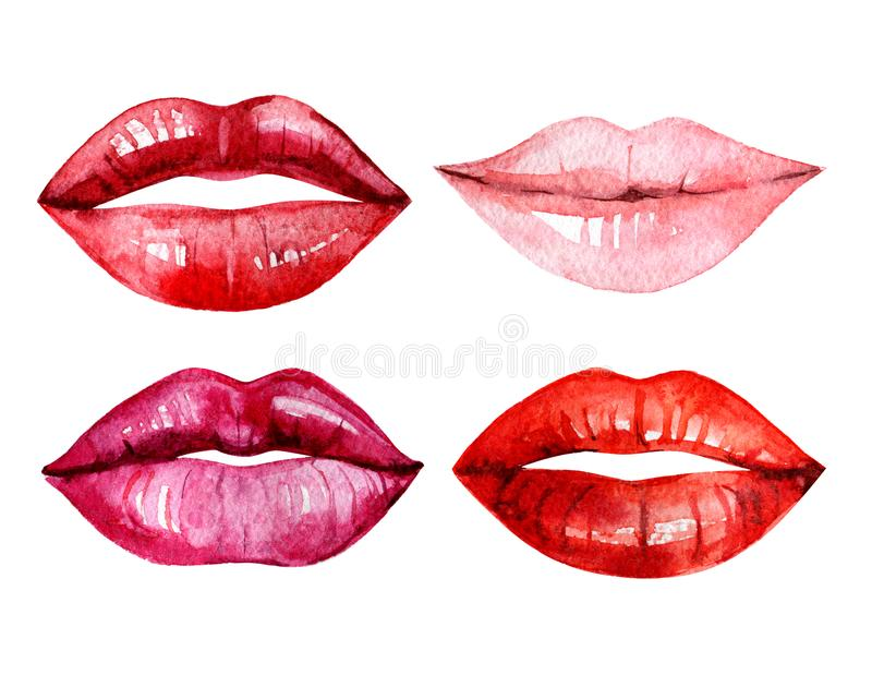 设置水彩嘴唇,隔绝在白色背景,例证 皇族释放例证