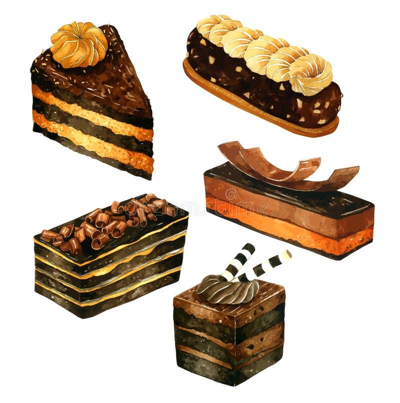 设置水彩蛋糕 传染媒介水彩,手拉为贺卡, 皇族释放例证