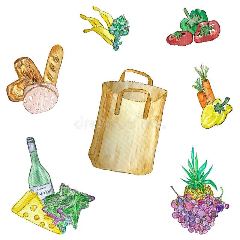 设置水彩食物例证 r 免版税库存图片