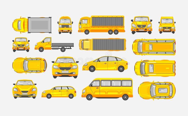 设置汽车斜背式的汽车,送货卡车,有拖车的,小巴,轿车上面,前面,侧视图轻型货车 向量例证