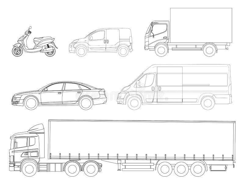 设置汽车概述 后勤运输 侧视图卡车拖车,半卡车、货物交付、搬运车、微型货车和滑行车 库存例证