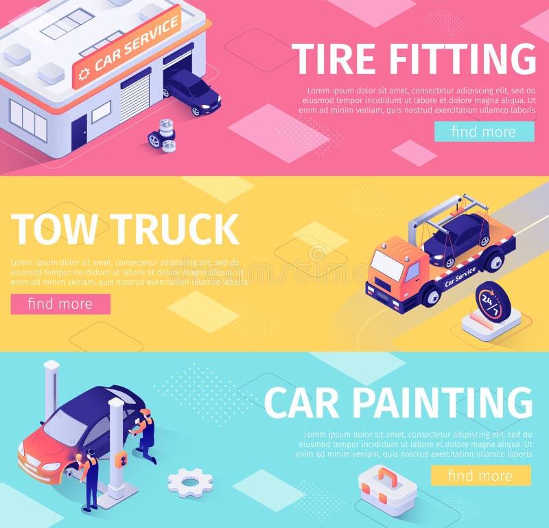 设置汽车维护和撤离的横幅 库存例证