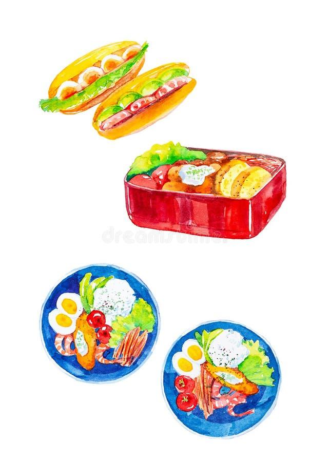 设置沙拉食物用海鲜、蕃茄和鸡蛋、菜、草本和面包热狗和篮子  r 皇族释放例证