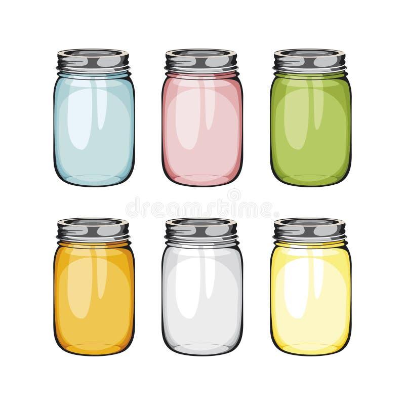 设置泥工玻璃瓶子 球 库存例证