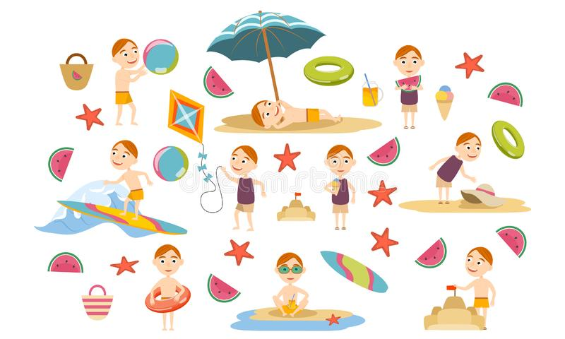 设置泳装的红头发人男孩在海滩 r 库存例证