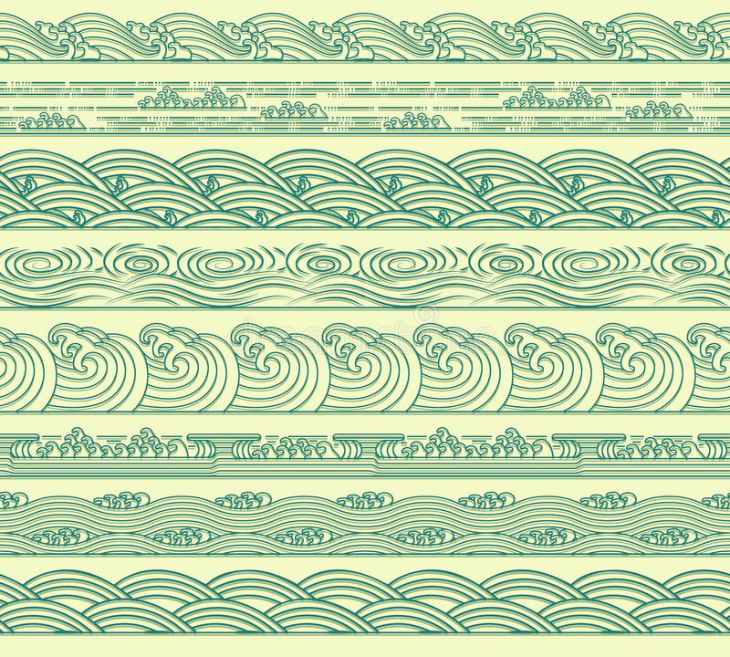 设置海波浪海洋无缝的边界传染媒介例证 皇族释放例证