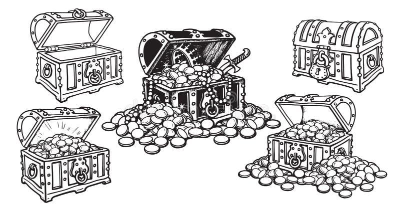 设置海盗在剪影样式的宝物箱开放和闭合,空和有很多金币和首饰 拉长的现有量 向量例证
