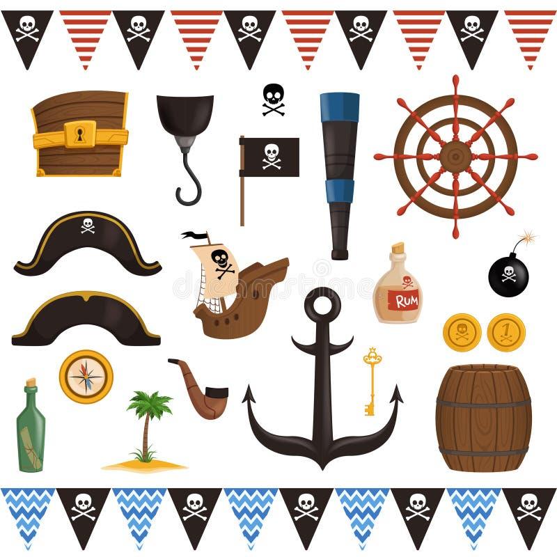 设置海盗属性为在动画片样式的假日 皇族释放例证