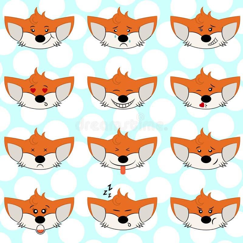 设置滑稽的狐狸意思号-用不同的情感的微笑的橙色狐狸从幸福到恼怒 能为商标,象使用 皇族释放例证