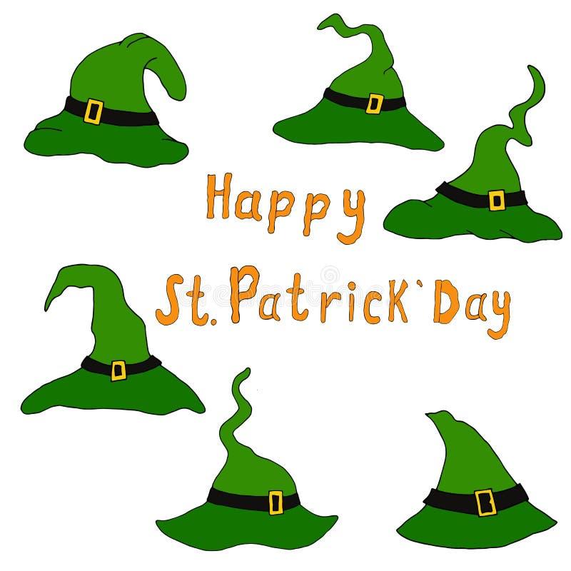 设置滑稽的绿色帽子为假日圣帕特里克的天 库存例证