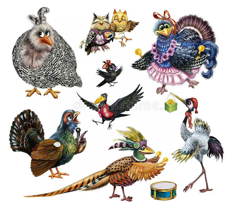设置滑稽的鸟 向量例证