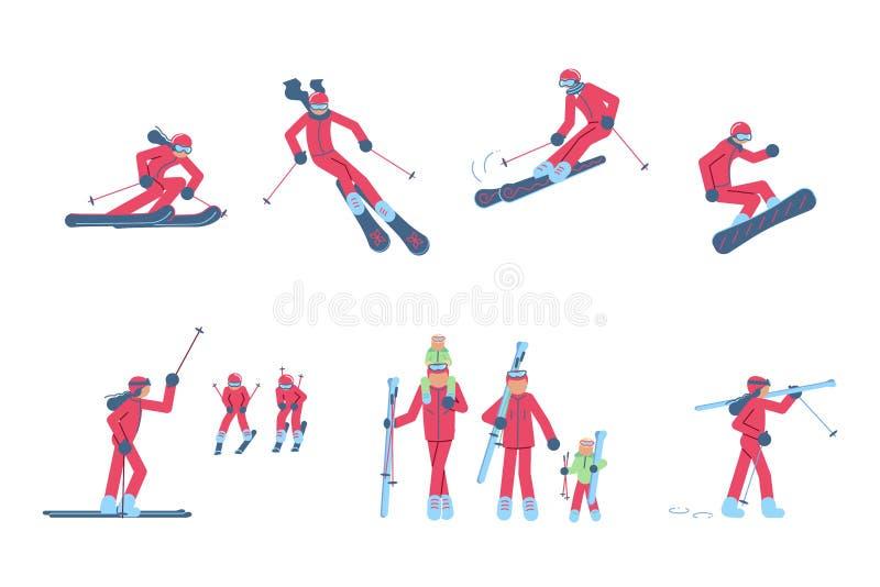 设置滑雪者和挡雪板 库存例证