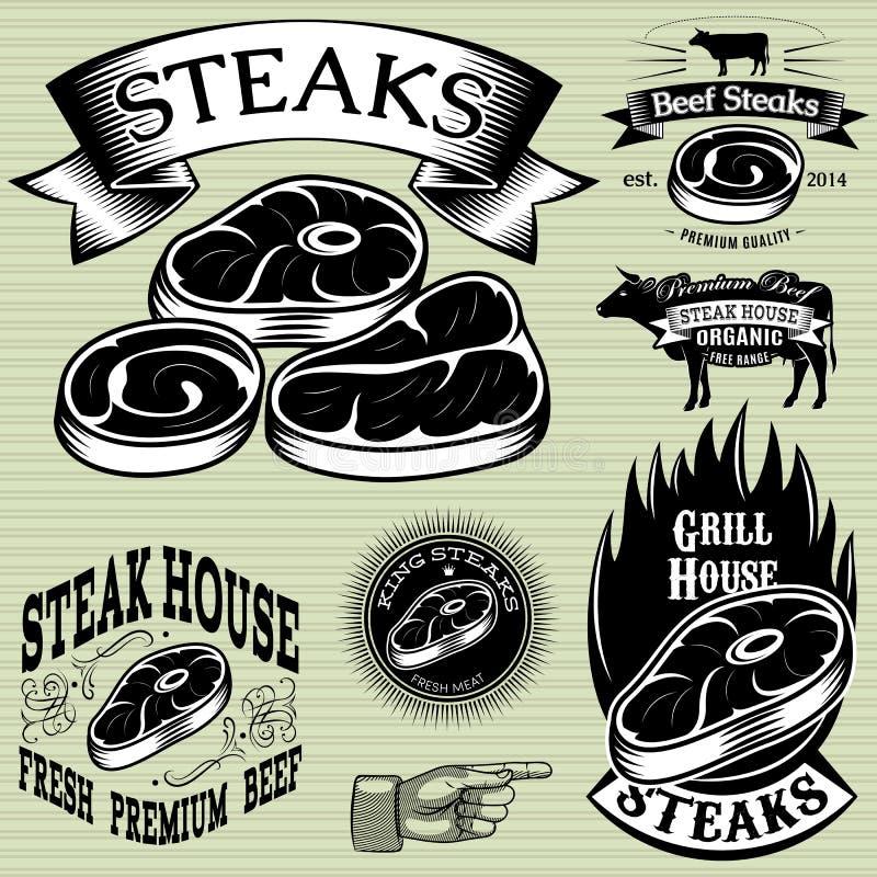 设置烤的模板,烤肉,牛排餐厅,菜单 向量例证