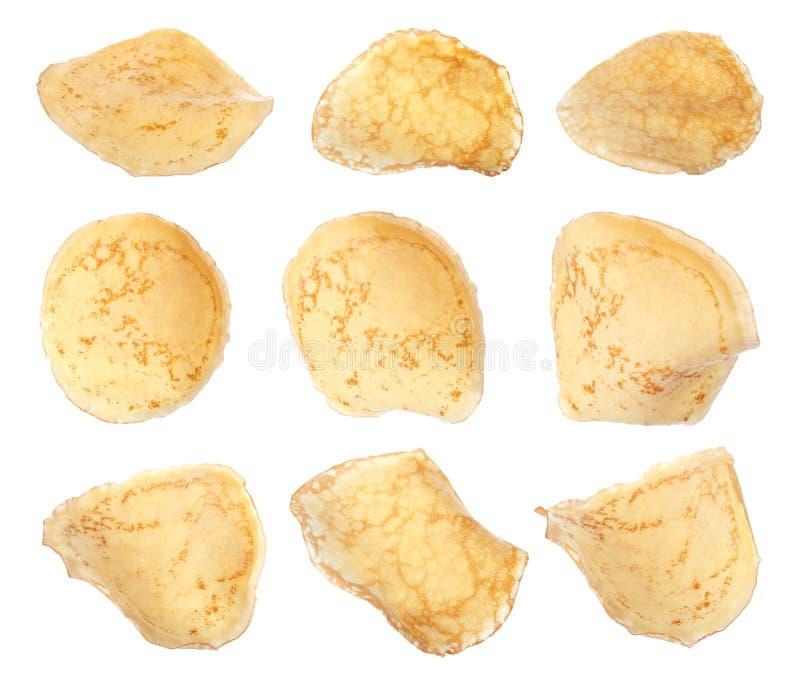 设置热的鲜美稀薄的薄煎饼 库存图片