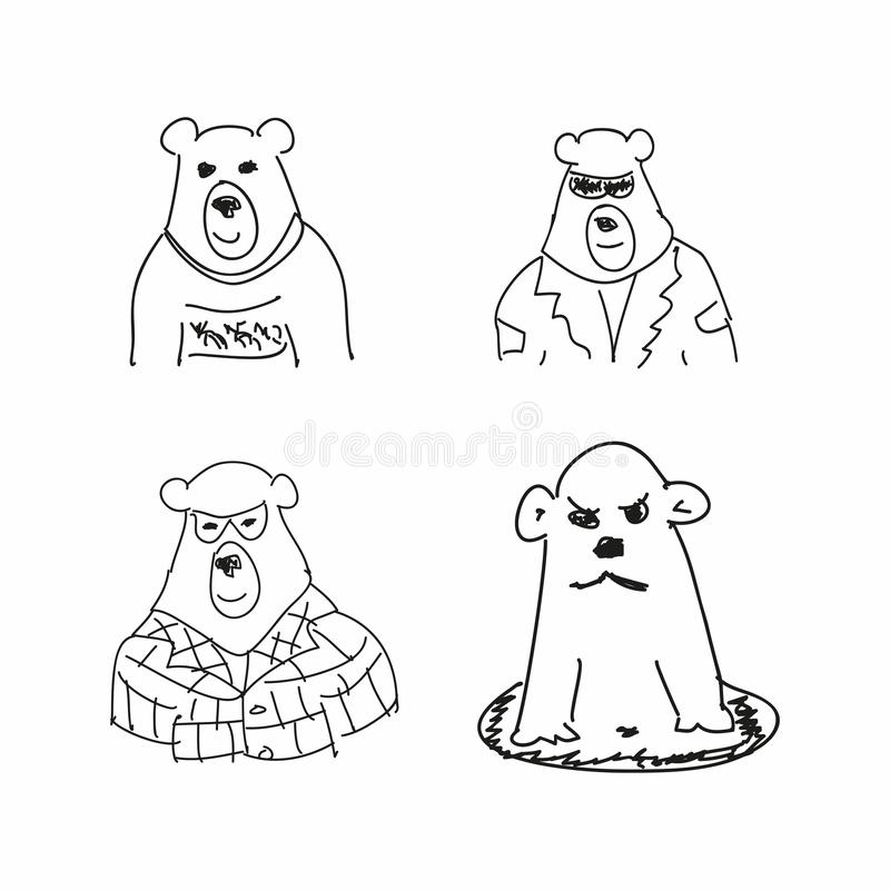 设置熊滑稽的剪影  儿童的图画的模仿 概略,杂文 r 向量例证