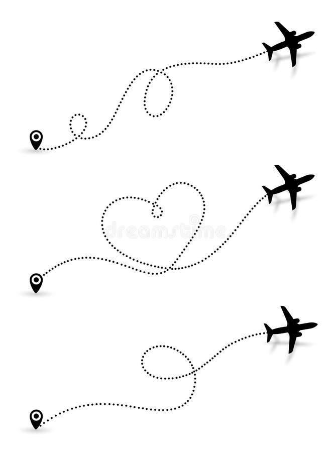 设置爱旅行路线 黑飞机线空中飞机与起动点和破折号线路跟踪程序或表的航线道路象  向量 库存例证