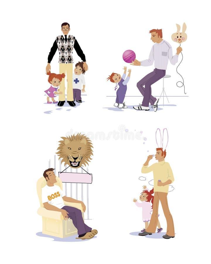 设置爸爸是企鹅四分卫,并且爸爸a是一头快乐的猪 隔绝在有兔宝宝衣服的白背景爸爸吹泡影为 皇族释放例证