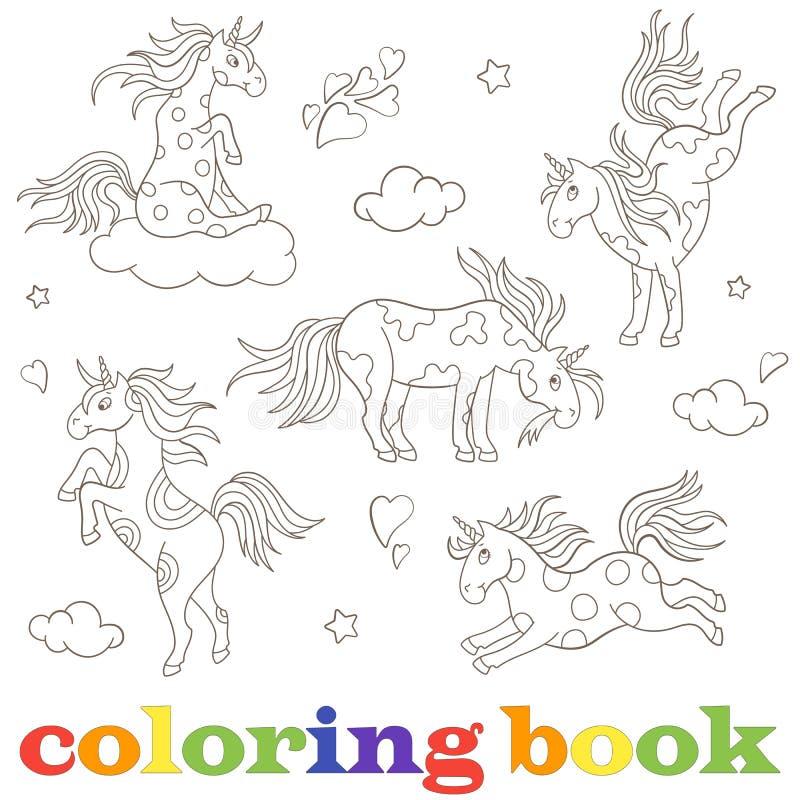 设置独角兽,滑稽的动画片动物,在白色背景彩图的黑等高的等高图象 库存例证