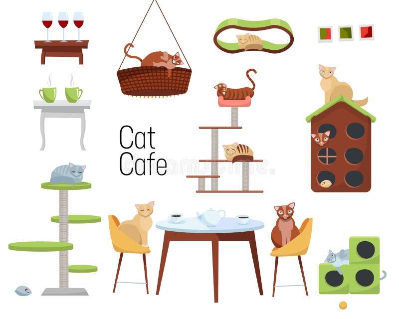 设置猫咖啡馆从另外猫和家具-猫房子和桌的项目与咖啡在白色背景的 ? 皇族释放例证