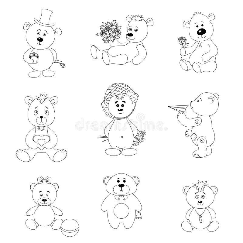 设置玩具玩具熊 向量例证