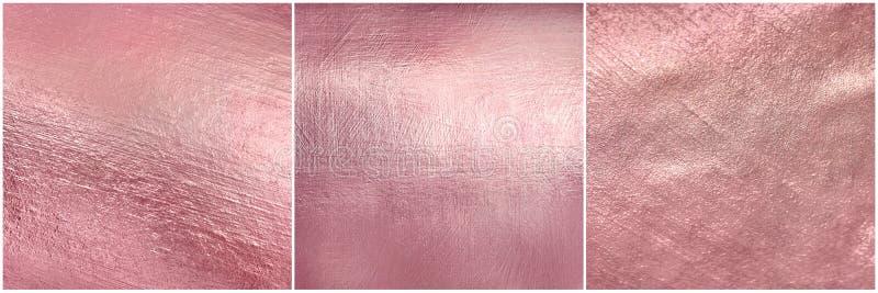 设置玫瑰色金金属纹理 Luxure典雅的软的箔背景 图库摄影