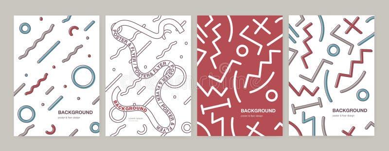 设置现代垂直的海报、飞行物或者卡片模板与抽象几何形状,弯曲和之字形线,丝带 向量例证