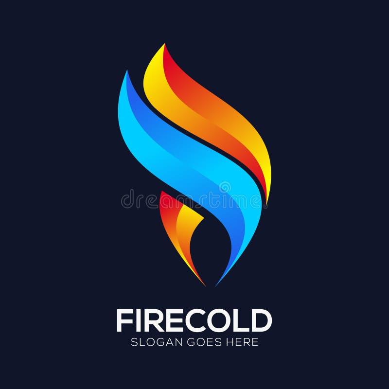 设置现代火商标传染媒介 库存例证