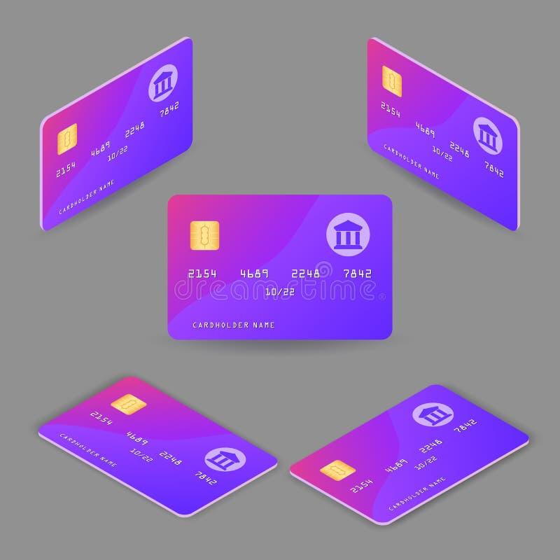 设置现实信用卡 向量例证