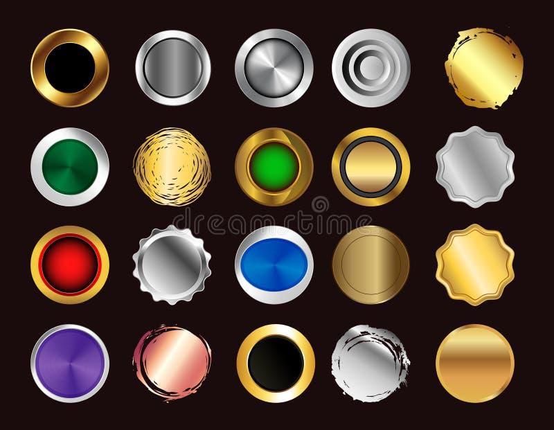 设置现实多彩多姿的大按钮 库存例证