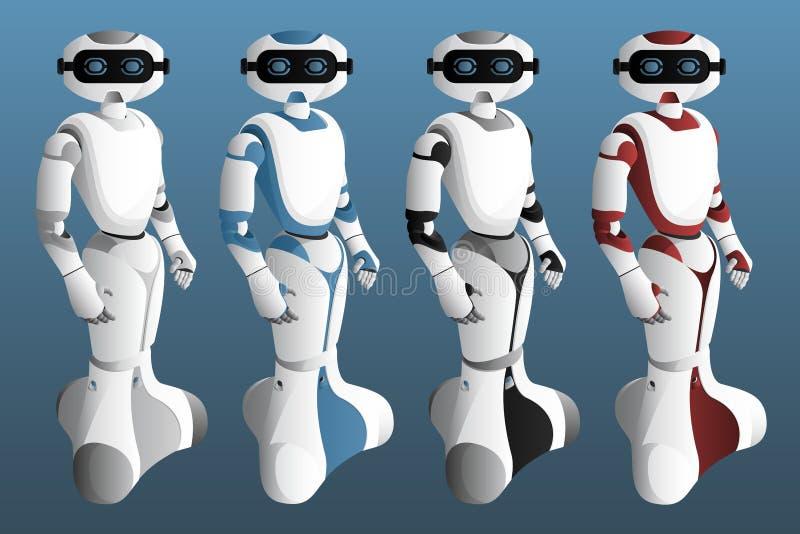 设置现实机器人 向量例证