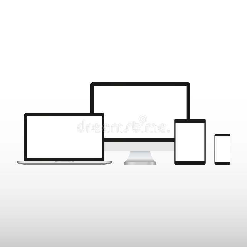 设置现实计算机显示器、膝上型计算机、片剂和手机有空的白色屏幕的 各种各样的现代电子小配件 库存例证