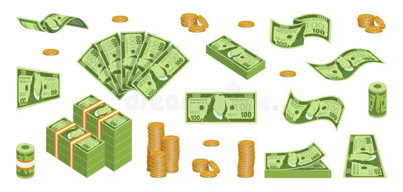 设置现金纸币 各种各样的种类金钱 在捆绑的金钱包装 飞行的钞票 铸造美元欧元金子 发单货币 金子 向量例证