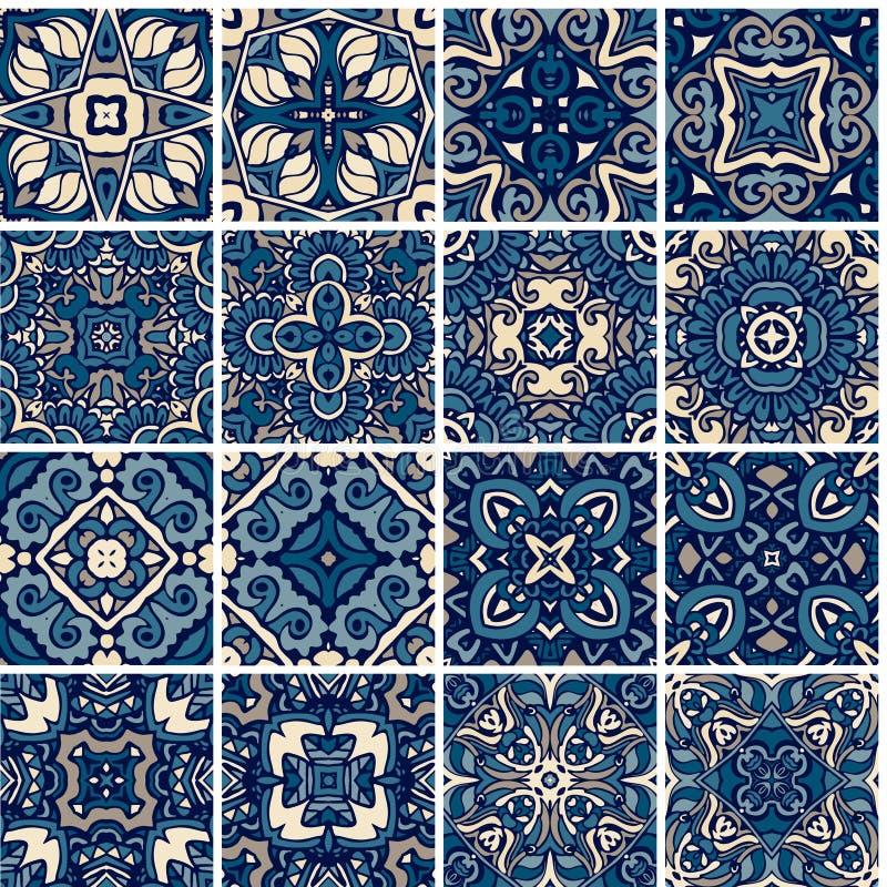 设置瓦片、蓝色和白色azulejo,原始的传统葡萄牙和西班牙装饰 库存例证