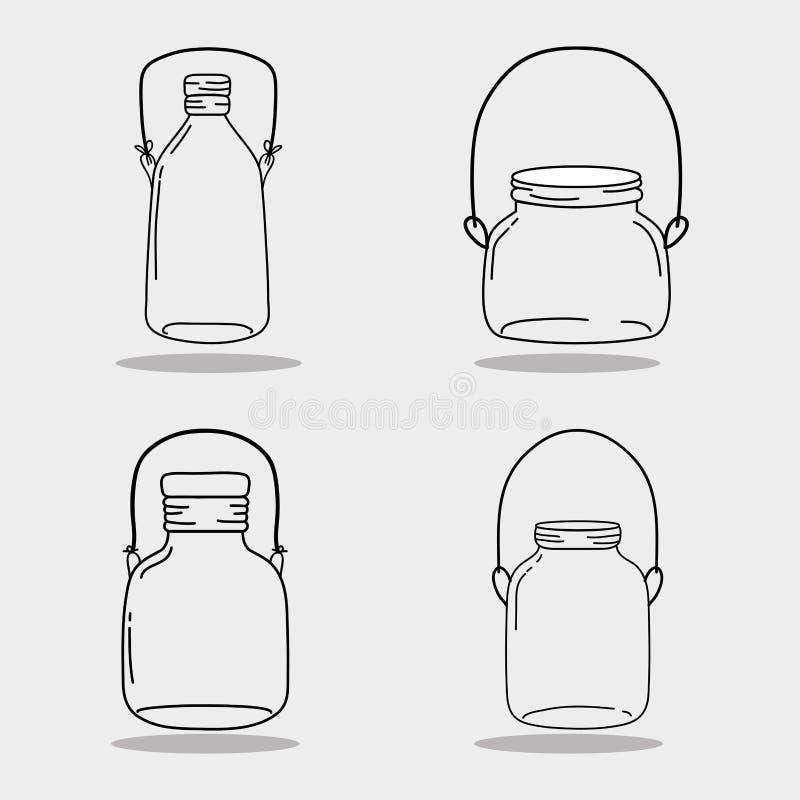 设置瓶子泥工玻璃用不同的形状 向量例证