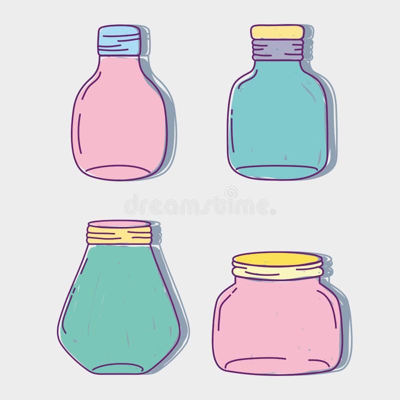 设置瓶子泥工玻璃用不同的形状 皇族释放例证