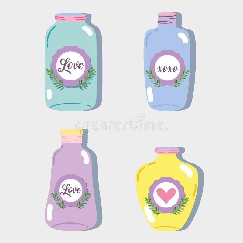 设置瓶子泥工玻璃用不同的形状 库存例证