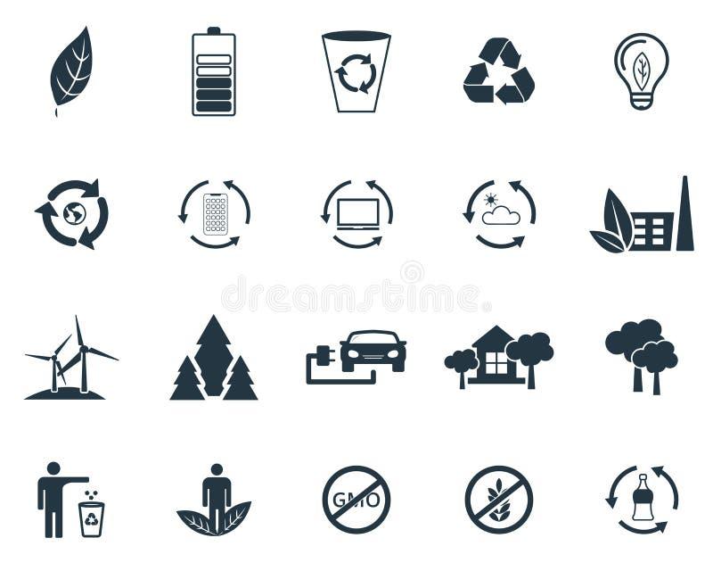 设置生态在平的设计的象汇集 新鲜空气、可再循环的项目网络设计的,介绍和流动apps 向量例证
