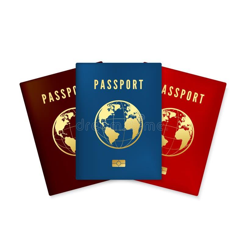 设置生物统计的蓝色棕色和红色护照盖子 与数字id的身分证 金黄文本护照和全球性地图 向量例证