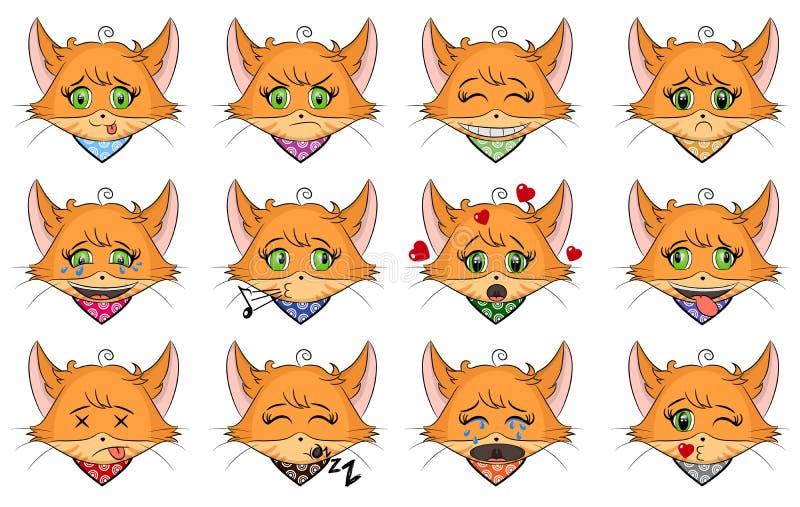 设置用不同的情感的逗人喜爱的姜猫 字符动画片小猫面孔 具体化意思号例证 猫emoji 向量例证