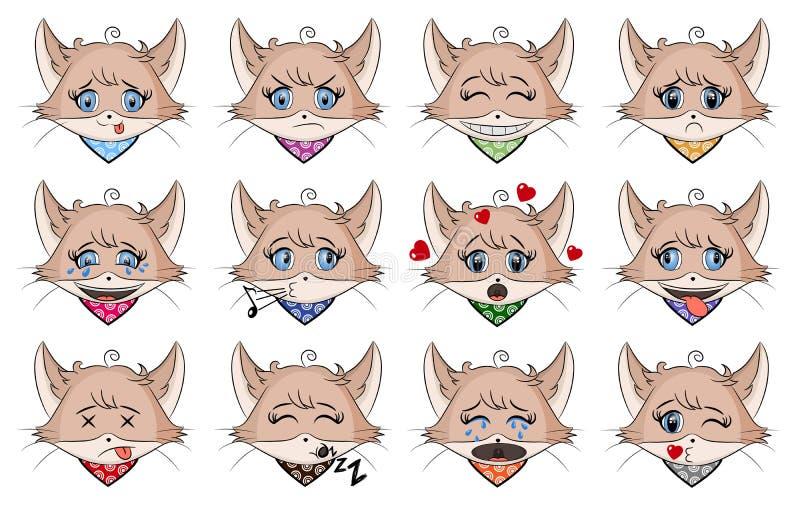 设置用不同的情感的逗人喜爱的猫 字符动画片小猫面孔 具体化意思号例证 在动画片样式的猫emoji 皇族释放例证