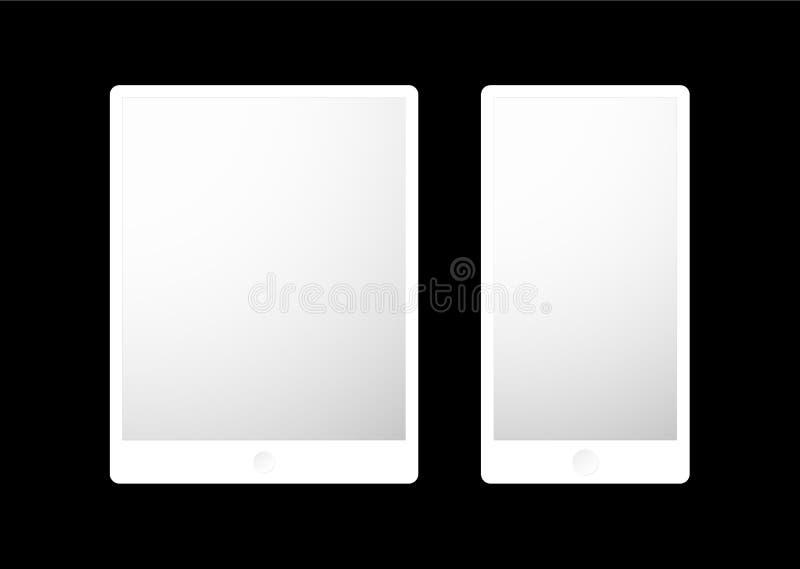 设置电子设备:笔记本、片剂和智能手机向量图形 皇族释放例证