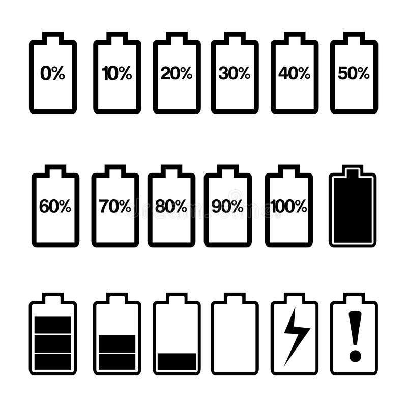 设置电池例证传染媒介1-100% 象集合 皇族释放例证