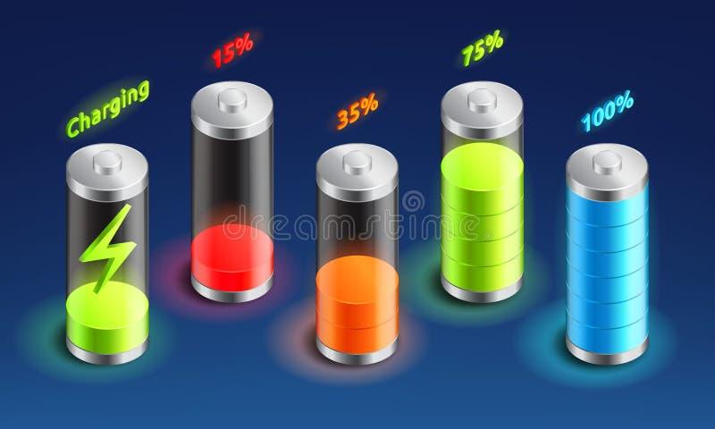 设置电池充电等量象,累加器显示,从充分的充电到被释放的,等量电池传染媒介 向量例证