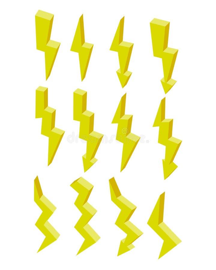 设置电等量平的黄色闪电象 3d传染媒介五颜六色的例证 在白色隔绝的图表 向量例证