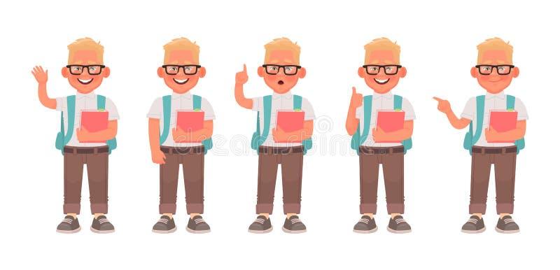 设置男小学生字符以各种各样的姿势和姿态 小学学生戴眼镜和有背包和书的 皇族释放例证