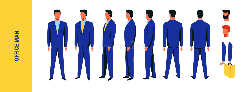 设置男性办公室工作者摆在水军蓝色衣服 库存例证