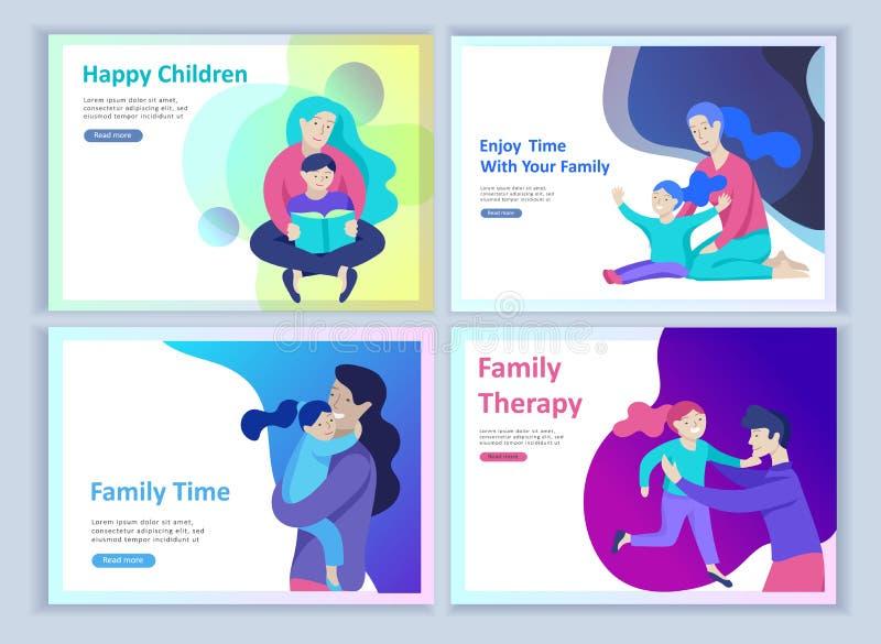 设置登陆的页模板幸福家庭,旅行和精神疗法,家庭医疗保健,母亲的物品娱乐 皇族释放例证